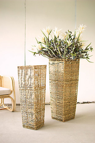 Set of Two Tall Tapered Seagrass Planter, , rollover
