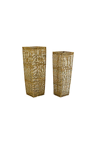 Set of Two Tall Tapered Seagrass Planter, , large