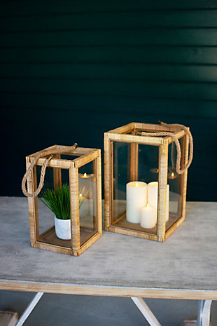 Set of Two Rectangle Rattan and Glass Lanterns, , rollover