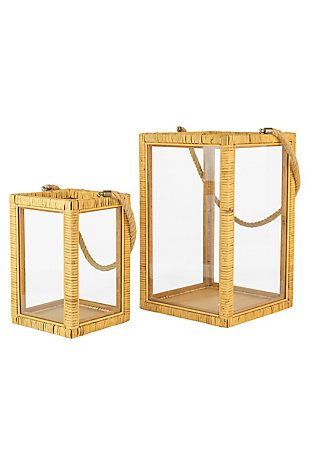 Set of Two Rectangle Rattan and Glass Lanterns, , large