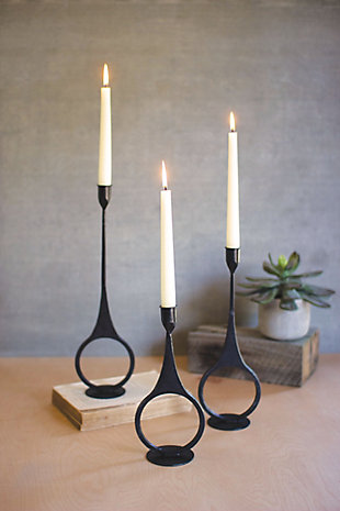 Set of Three Cast Iron Taper Candle Holders with Ring Detail, , rollover