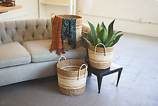 Set of Three Round Baskets - Two Toned Natural, , rollover