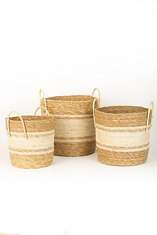 Set of Three Round Baskets - Two Toned Natural, , large
