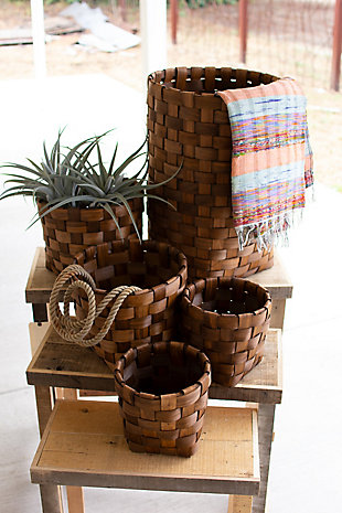 Set of Five Nesting Round Chipwood Baskets, , rollover