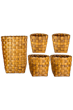 Set of Five Nesting Round Chipwood Baskets, , large