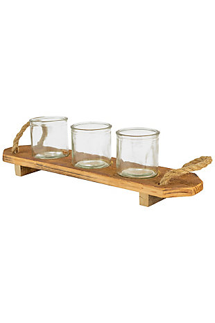 Three Glass Candle Holders on a Recycled Wooden Base (Box of 2), , large