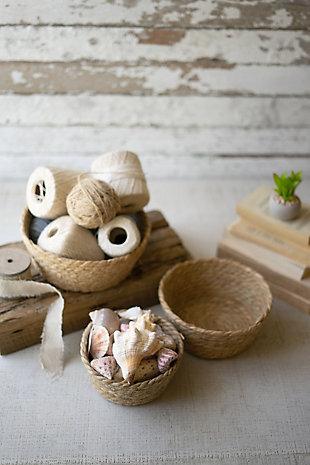 Set of Three Round Seagrass Baskets, , rollover