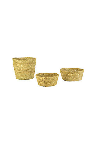 Set of Three Round Seagrass Baskets, , large