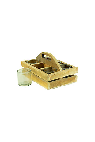 Recycled Wood Trug with Six Glass Votive Holders, , large
