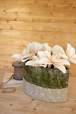 Green and Natural Oval Planter, , rollover