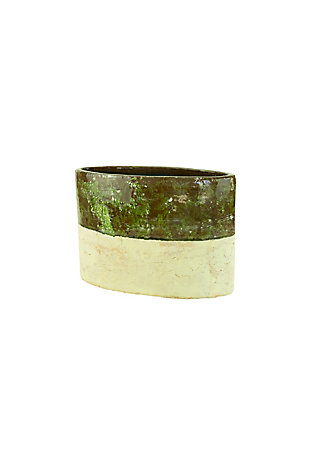 Green and Natural Oval Planter, , large