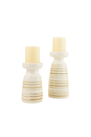 Set of Two Ceramic Candle Holders - Antique White, , large