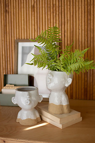 Set of Two Ceramic Smooching Planters, , rollover