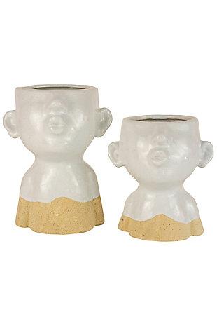 Set of Two Ceramic Smooching Planters, , large