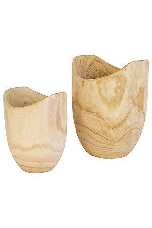 Set of Two Tall Hand Carved Wooden Bowls, , large