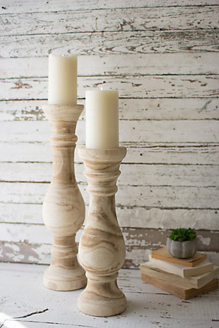 Set of Two Hand Carved Wooden Candle Stands, , rollover