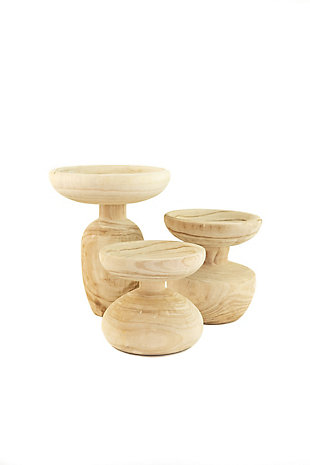 Set of Three Turned Wooden Pedestals, , large