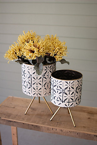 Set of Two Round Pressed Metal Planters on Stands, , rollover