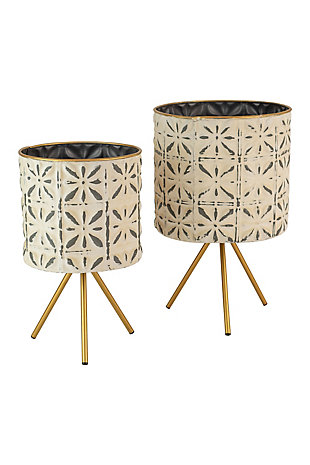 Set of Two Round Pressed Metal Planters on Stands, , large