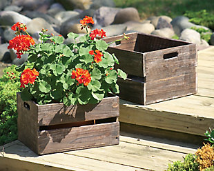 Set of Two Wooden Slatted Crates (Box of 2 Sets), , rollover