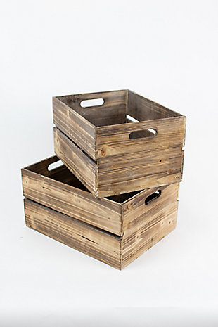 Set of Two Wooden Slatted Crates (Box of 2 Sets), , large