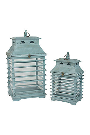 Set of Two Vintage Blue Shutter Lanterns, , large