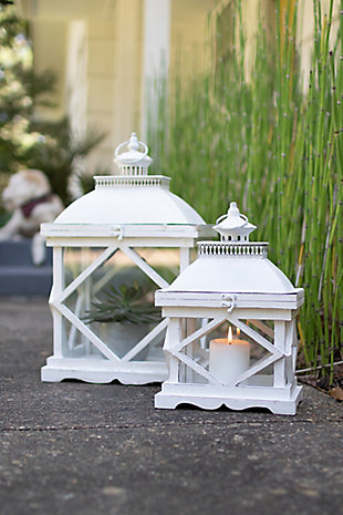 Set of Two Rustic White Wooden Lanterns, , rollover