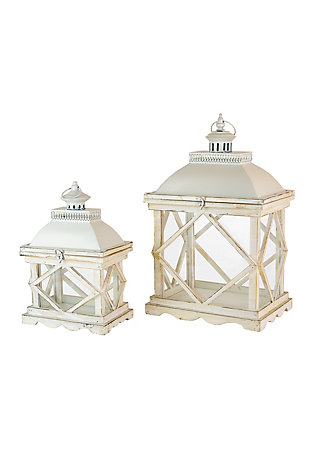 Set of Two Rustic White Wooden Lanterns, , large