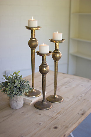 Set of Three Metal Candle Stands, , rollover