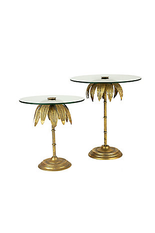 Set of Two Palm Tree Display Stands with Glass Tops, , large