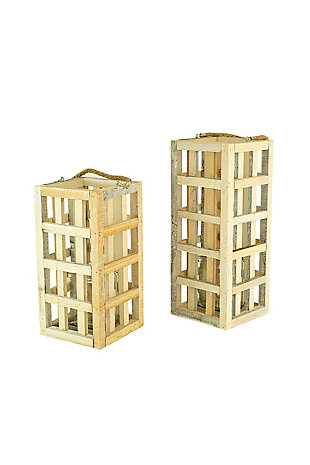 Set of Two White Washed Tall Square Recycled Wood Candle Towers with Glass Inserts, , large