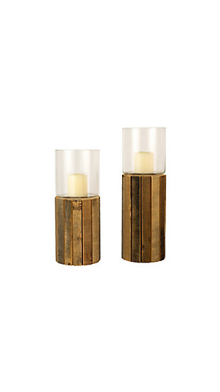 Set of Two Glass Hurricanes with Recycled Wood Bases, , large