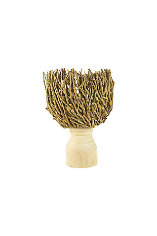 Root Compote with Turned Natural Wood Base Large, , large