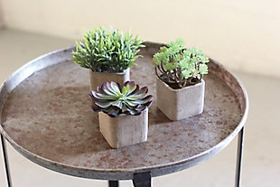 Set of Three Large Artificial Succulents In Square Pots, , rollover