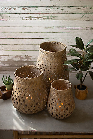 Set of Three Bamboo Baskets, , rollover