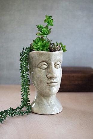 Ceramic Head Planter - Gray, , rollover