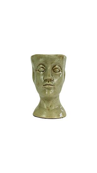 Ceramic Head Planter - Gray, , large