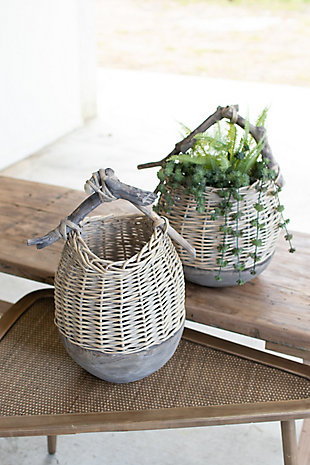 Set of Two Repurposed Wood and Willow Baskets, , rollover