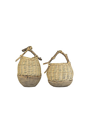 Set of Two Repurposed Wood and Willow Baskets, , large