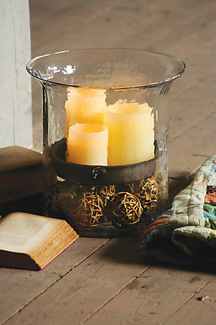 Giant Glass Candle Cylinder with Rustic Insert, , rollover