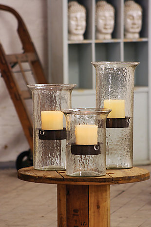 Original Glass Candle Cylinder W Rustic Insert - Small, , rollover