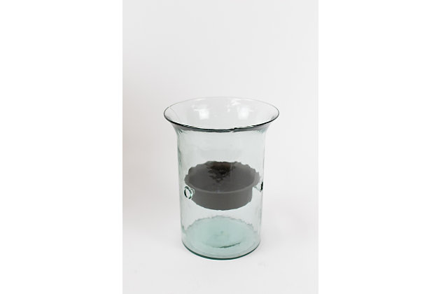 Original Glass Candle Cylinder W Rustic Insert - Small, , large