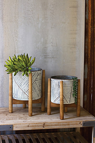 Set of Two Pressed Tin Planters with Wooden Bases, , rollover