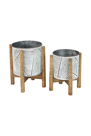 Set of Two Pressed Tin Planters with Wooden Bases, , large