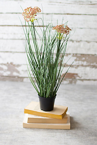 Artificial Potted Onion Grass with Two Flowers (Box of 6), , rollover