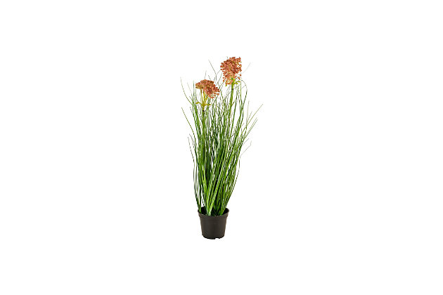 Artificial Potted Onion Grass with Two Flowers (Box of 6), , large