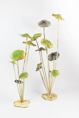 Set of Two Painted Metal Mushroom Clusters, , large