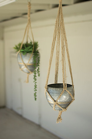 Set of Two Hanging Galvanized Planters with Woven Jute Rope, , rollover