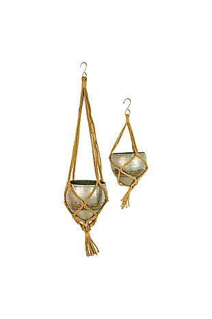 Set of Two Hanging Galvanized Planters with Woven Jute Rope, , large