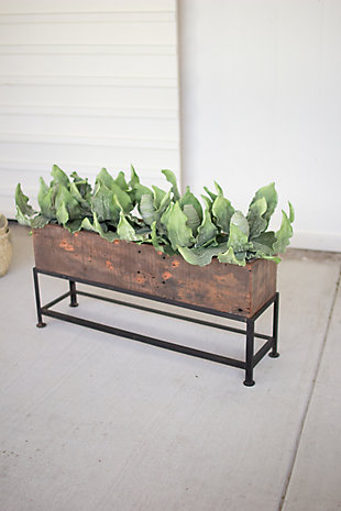 Recycled Wooden Planter with Iron Base, , rollover